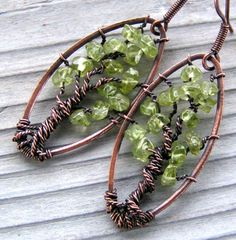 Peridot Tree of Life Earrings Copper Wire Wrapped by GarnetRoses