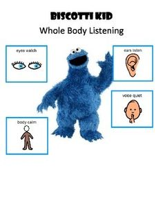 This is an interactive and poster set for the very cute and entertaining Biscotti Kid video from Sesame Street.  Cookie Monster learns to use whole body listening.  Enjoy!