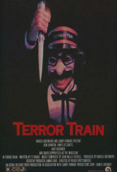 Terror Train is a 1980 Canadian horror film directed by Roger Spottiswoode and starring Jamie Lee Curtis, Ben Johnson and David Copperfield. It follows the members of a college fraternity who played a cruel prank on a shy kid named Kenny Hampson three years ago. They are having a costume party on a train; unbeknownst to them, someone has boarded the train with them and is killing them all one by one.