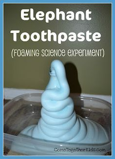 Elephant toothpaste (really fun foaming science experiment using hydrogen peroxide, dish soap, and yeast!)