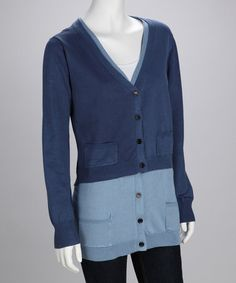 Take a look at this Navy & Blue Layered Cardigan - Women by Looks to Fall For: Women's Apparel on #zulily today!