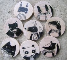Set of Eight Hand Drawn Whimsical Animal Magnets, by Andrea Doss.