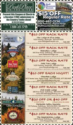 Smoky Mountains - Pigeon Forge Coupons - Gatlinburg Discount Coupons Gatlinburg Coupons, Smoky Mountains Attractions, Mountain Vacations, Tennessee Vacation, Shopping Coupons, Pigeon Forge, Discount Coupons, Cabin Rentals, Vacation Spots
