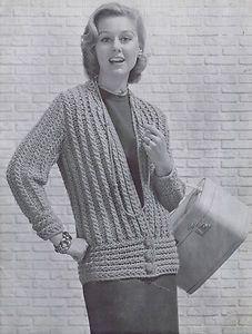 Vintage Knitting Patterns Blouse 1950s Bulky Tunic Cardigans Sweaters Fleishers | eBay