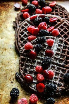 Chocolate Waffles- Gluten Free and Vegan from http://HeatherChristo.com