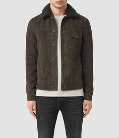 Allsaints Wilmont Suede Jacket In Dark Slate Grey Leather Men, Leather Jackets, Suede Leather, Brown Leather, Dapper Suits, Daytime Outfit, Casual Wear For Men, Bespoke Tailoring, Suede Jacket