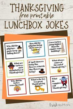 Thanksgiving Jokes | Free Printable Lunchbox Jokes