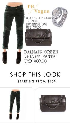 """""""SHOP - Re-Vogue"""" by ladymargaret ❤ liked on Polyvore featuring Balmain and Chanel"""