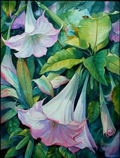 """""""Sunlit Angels Trumpets"""" by Rita Joyce.  Watercolor. http://www.ritajoyceartist.com"""