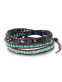 Reminds me of tropical beaches, love this! Blue Multi Leather Wrap Bracelet by Chan Luu.