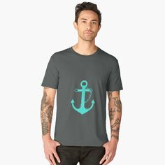 Men's Premium T-Shirt AFE Turquoise Anchor and Helm Wheel by afeimages.  #nautical #redbubble #shipanchor #giftsforhim