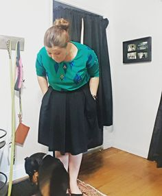 Pairing the #lularoeirma with the #lularoemadison for work today. Also I tend to get a distracted by my babies while I take photos!! #dogsofinstagram #dobbywellsgonzalez #germanpinscher #lularoe @lularoe