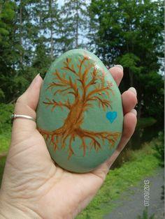 Hand Painted Spiritual Tree River Stone by by MarciaStewartArt, $12.00 Artist:  IRESH