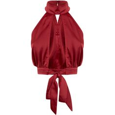Kallia Burgundy Satin Open Plunge Tie Blouse ($40) ❤ liked on Polyvore featuring tops, blouses, satin blouse, red top, plunge blouse, sexy satin blouse and sexy tops