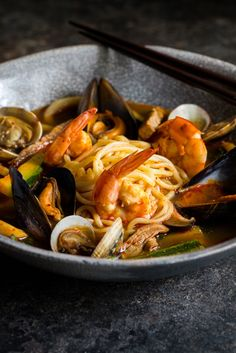 This simple jjamppong recipe by Louise Robinson is a spicy seafood noodle soup. A  vibrant mix of Korean flavours from a heady mix of chilli and seafood.