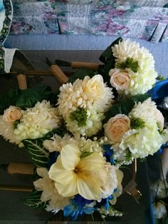 Four bridesmaid bouquets and my bridal bouquet