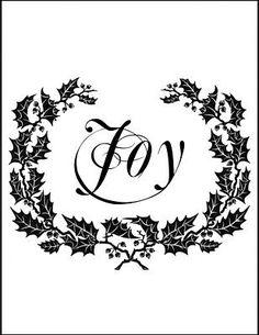 Transfer Printable - Holiday Joy Wreath - The Graphics Fairy