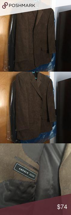 Andrew Fezza Men's warehouse XXL brown coat Andrew Fezza Men's warehouse Brown suit jacket coat size XL Andrew Fezza Jackets & Coats Trench Coats