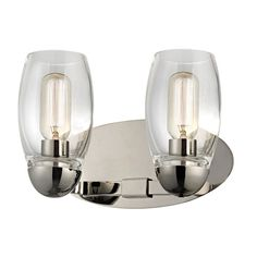 View the Hudson Valley Lighting 8842-PN Polished Nickel Pamelia 2 Light Bathroom Vanity Light with Mouth-Blown Glass Shade and Tungsten Filament Bulbs at Build.com.
