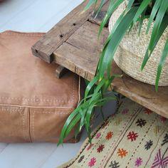 Square Leather Pouffe – Camel – Maison & Maison