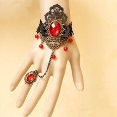 Принцесса Готическая Лолита винтаж наручные длина аксессуары черного кружева браслет с ер ен ос один кусок цепи красный кристалл