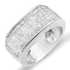 2.00 Carat (ctw) 14k White Gold Princess Diamond Invisible Set Men's Wedding Band Ring 2 CT (Size 8)