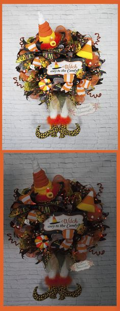 Light up Witch Wreath, Candy Corn Witch Wreath, Witch Hat with Legs, Witch Mesh Wreath, Witch way to the Candy by Splendid Homecrafts on Etsy