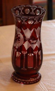 Egermann Ruby Red Vase Glass CZECH REPUBLIC Red Cut to Clear Scenic Orig Sticker picclick.com