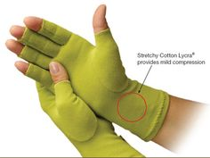 The Creative Comfort™ Crafter's Comfort Gloves are made from a seamless,lightweight, soft cotton/Lycra® compression knit, for a snug fit that warms and supports the hands. The unique design helps improve circulation, reduce swelling and relieve arthritis pain. The open fingertips allow full freedom to feel and grip all day.     ----- Have a pair, and for my always cold hands these work and i can still use my nails and finger tips to work at projects