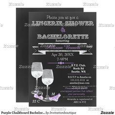 Purple Chalkboard Bachelorette, Lingerie Shower Card