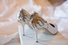 """Sabine Ghanem and Joseph Getty's Wedding in Rome: """"Charlotte Dellal's wonderful wedding present to me: The perfect wedding shoes. They had a Lesage sun embroidered on each heel, keeping in line with the motif on my dress. Vogue Photo, Lesage, Hot Shoes, Fashion Heels, Luxury Wedding, Dream Wedding, Wedding Things, Gold Wedding, Rustic Wedding"""