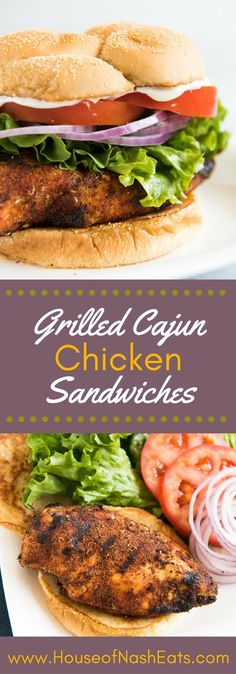 Grilled Cajun Chicken Sandwiches are deliciously spicy with a crispy, blackened crust that forms around the juicy, tender chicken breast when seared over high heat. Then you sandwich the chicken between soft, toasted buns with cool and crispy lettuce, tom Grilled Chicken Sandwiches, Chicken Sandwich Recipes, Grilled Chicken Recipes, Grilled Meat, Lunch Recipes, Healthy Recipes, Cajun Chicken Burger, Crispy Chicken Burgers, Grilled Cheeses