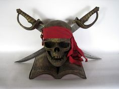 Rare Pirates of the Caribbean Prop Skull w/actual mini-cutlasses!