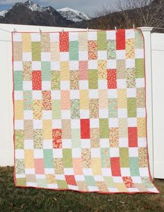 """Easy bricks quilt tutorial by Amy Smart - perfect for using 10"""" Layer Cake fabric precuts. Beginner friendly and a fast finish."""