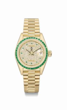 Rolex. A fine and rare lady's 18k gold, diamond, and emerald-set automatic wristwatch with sweep centre seconds, date, and bracelet, made for the Sultanat of Oman, circa 1984 #ChristiesWatches