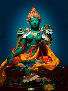 """Green Tara, the """"Mother of all Buddhas"""" embodies the active compassion of all buddhas, whose love helps us overcome obstacles, fulfills our worldly wishes and saves us from physical and spiritual danger. Buddha Buddhism, Tibetan Buddhism, Buddhist Art, Tara Goddess, Tibet Art, Vajrayana Buddhism, Tantra, Religious Art, World Religions"""