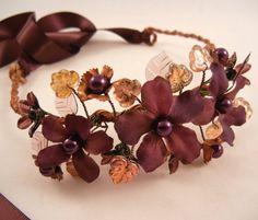 PRISCILLA Purple Plum Vintage Bead Flower Wreath by ZoeGraceBlooms, $46.00