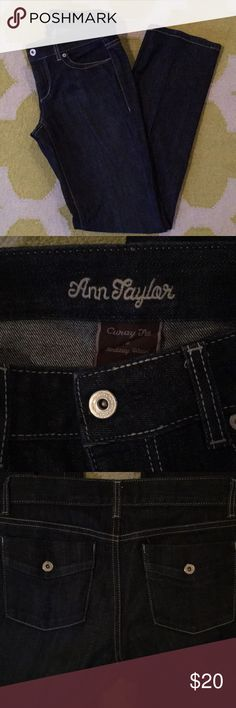 Ann Taylor dark wash jeans- size 2 Very comfy jeans from Ann Taylor, size 2 curvy fit. Barely worn! Ann Taylor Jeans Boot Cut