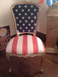 Old Glory Chair. Perfect for a porch or library. Painted Furniture, Diy Furniture, Reupholster Furniture, Plywood Furniture, Modern Furniture, Furniture Design, I Love America, Home Of The Brave, Patriotic Decorations