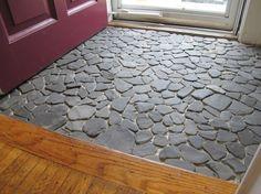 stone flooring A shale stone entryway, pre-grout. Stone Tile Flooring, Entryway Flooring, Farmhouse Flooring, Slate Flooring, Terrazzo Flooring, Basement Flooring, Diy Flooring, Stone Tiles, Concrete Floors