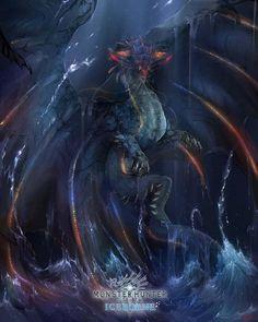 Namielle from MHW Iceborne *-* Fantasy Dragon, Anime Fantasy, Fantasy Art, Monster Hunter Series, Monster Hunter Art, Creature Concept Art, Creature Design, Fantasy Creatures, Mythical Creatures