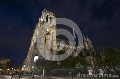 Notre Dame de Paris in the evening dusk