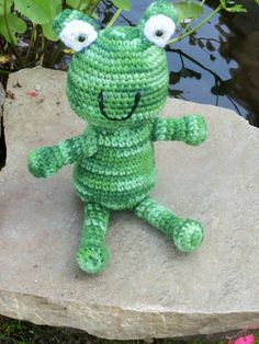 Amigurumi Frog  Crocheted Striped Frog  Shades of by BeyondCrochet, $15.00