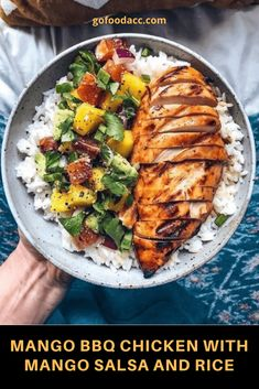 Mango BBQ Chicken with Mango Salsa and Re . - Mango BBQ Chicken with Mango Salsa and Rice Best Picture For Fast Recipes - Dinner Side Dishes, Dinner Menu, Mango Recipes For Dinner, Summer Recipes, 5 A Day Recipes, Recipes With Mango, Rice Recipes For Dinner, Dinner Dessert, Ww Recipes
