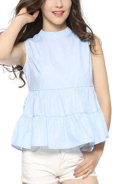 Trendy-Road-Style-Shop-Online-Woman-Fashion-Street-blouse-oneck-ruffles-sleeveless-skyblue