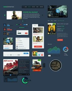 Free UI Elements Pack for Gaming Website Design PSD