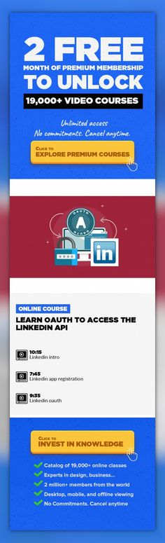 Learn OAuth to access the LinkedIn API Technology, IT Security #onlinecourses #onlinebusinessentrepreneur #CoursesBudgetLearn OAuth hands on by accessing LinkedIn APIs. Follow the simple instructions so you understand OAuth. Why this course? The most popular mobile apps integrate with popular social APIs such as LinkedIn. If this is a well-known fact, why do app developers not just do it? Many ...