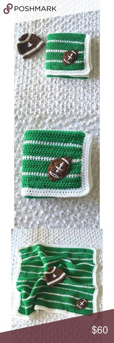 """Baby football blanket set Blanket measures approx 24"""" X 26"""" and the hat is newborn size, but we al know how every baby measures a little different!  This set can be used every day, but would also make a great photo prop.   Colors may vary slightly due to lighting and screen display settings.   This item was crocheted in a smoke free home. Accessories Hats"""
