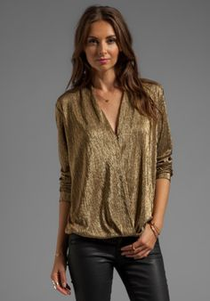 SAM&LAVI Wynter Blouse in Metallic Gold Knit from REVOLVEclothing.com