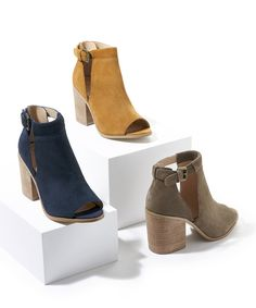 Block heel peep toe booties with cool cutouts